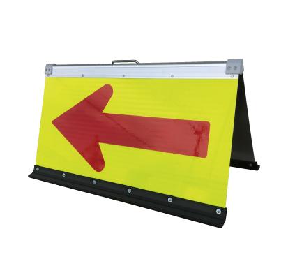 蛍光高輝度二方向矢印板 黄緑+赤矢 450X900