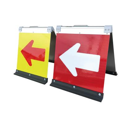 蛍光高輝二方向矢印板ハーフ 黄緑+赤矢450X450